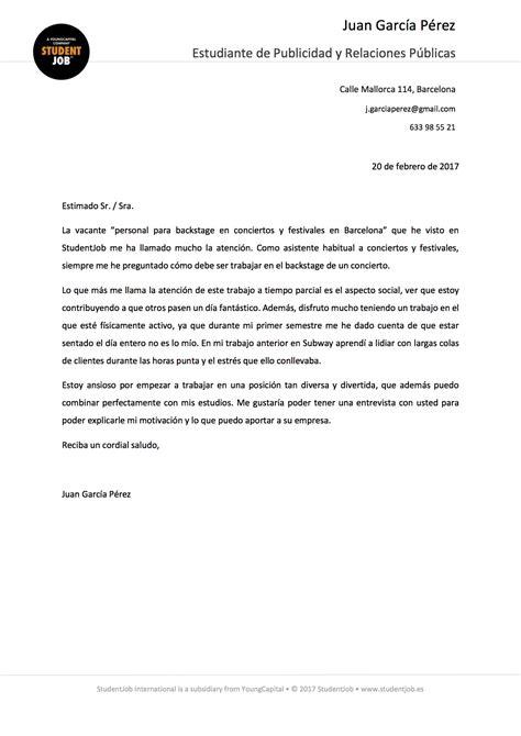 Modelo De Carta De Presentacion Que Acompaña Al Curriculum Vitae La Carta De Presentaci 243 N Consejos Studentjob Es