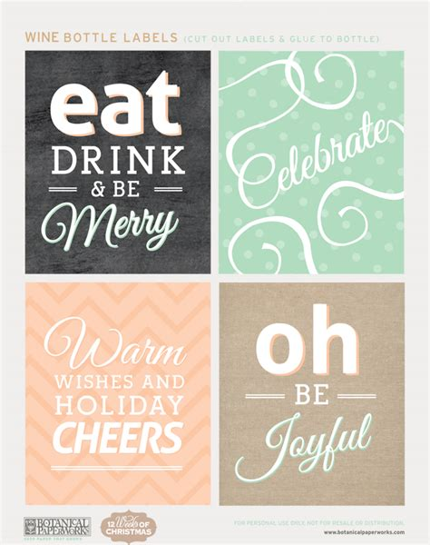 Free Printable Holiday Bottle Labels And Gift Tags Blog Botanical Paperworks Wine Bottle Tag Template Free