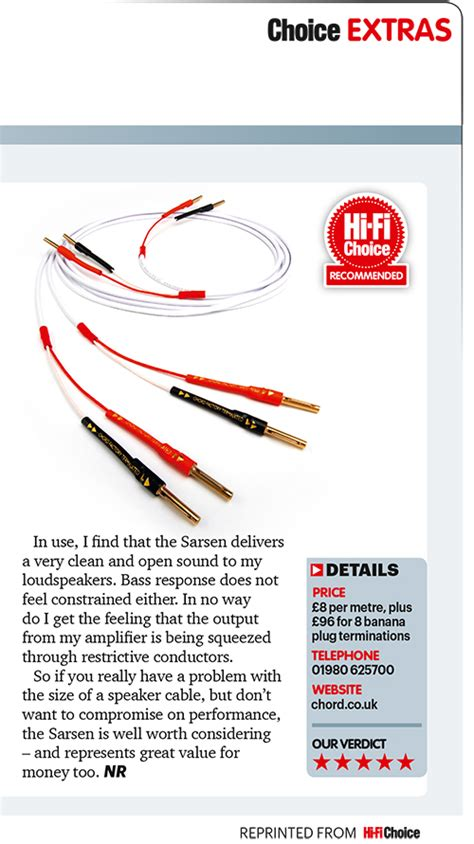 hi fi choice speaker cable reviews product review chord sarsen speaker cable hi fi choice