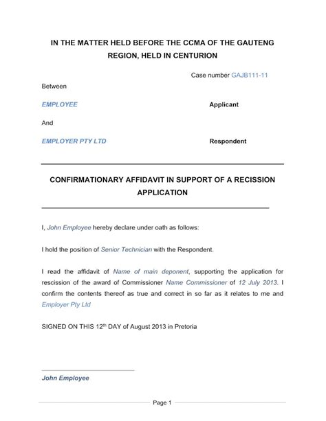 Letter Of Service From Employer South Africa Confirmationary Affidavit Document Labour South Africa