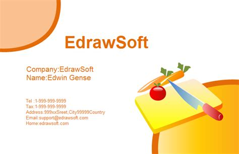food business card templates