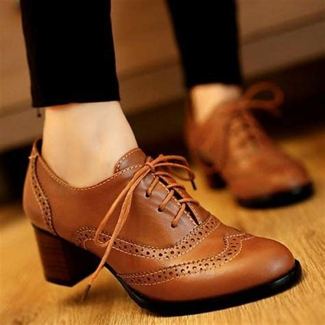 Boots Oxford Kulit Brown new womens brogue lace up low thick heel oxfords retro