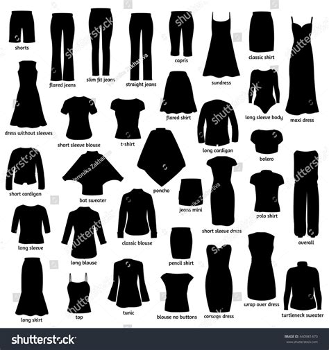 Id Silhouette Dress clothes names silhouettes icons clothing stock vector 440981470