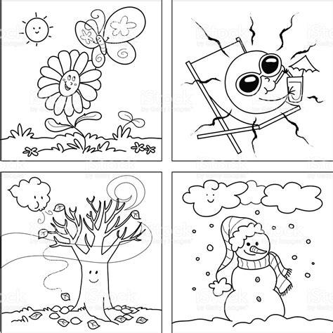 imagenes para colorear las estaciones del año vector de cuatro estaciones para colorear arte vectorial