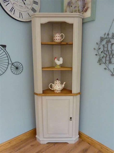 beautiful painted shabby chic pine corner unit storage shelves cabinet dresser beautiful