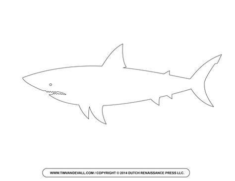 Free Cartoon Shark Clipart Shark Outline And Shark Silhouette Great White Shark Template