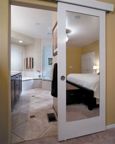 mirror bathroom door wall mounted sliding door quot reflects quot genius design idea