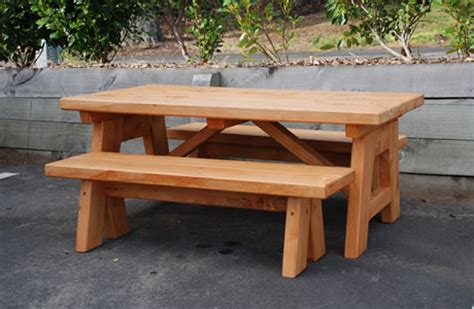 Patio Table Bench Seat Outdoor Table 2 Bench Seats Naturally Wood By Design