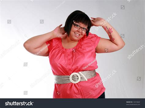 plus size model with tattoos plus size black model with smiling stock photo