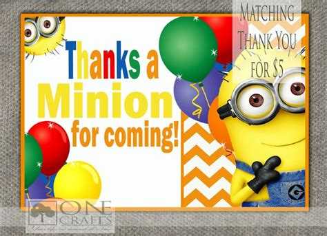 Printable Minion Thank You Cards | thanks a minion free printable party invitations ideas