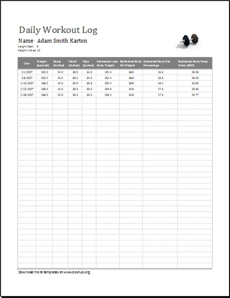 Daily Workout Log Template For Excel Openoffice Document Hub Daily Work Log Template Microsoft Excel