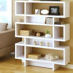 modern white living room cabinet storage ideas add movement to the room with the sloane espresso leaning bookcases