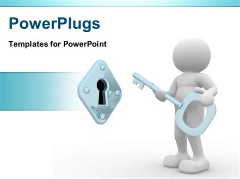 Powerpoint Template A Person With A Key Unlocking A Lock Powerplugs Powerpoint