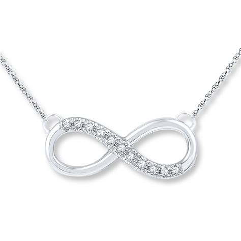Infinity Necklace Infinity Necklace 1 20 Ct Tw Cut 10k White Gold