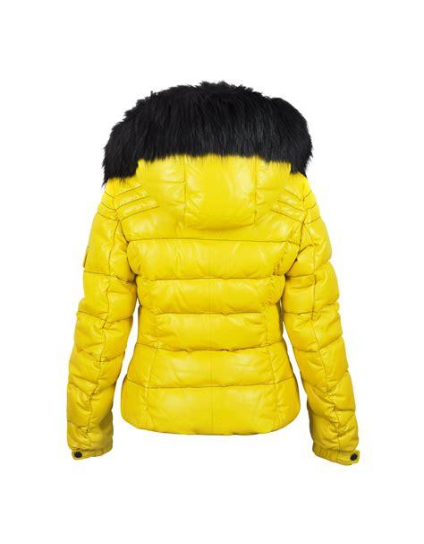forzieri yellow leather puffer jacket wdetachable fur