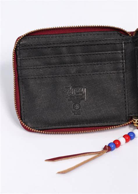 zip bead stussy classic bead zip wallet burgundy