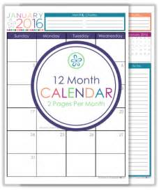 12 Month Planner Template by 12 Month Planner Template Calendar Template 2016