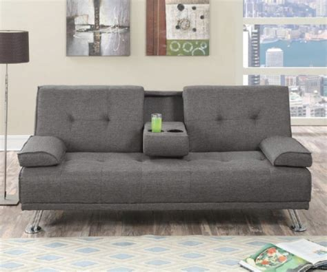 futon with cup holders slate linen like fabric sofa bed futon with cup holder
