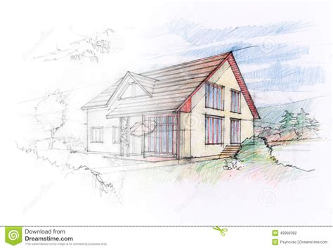 home design sketch free house sketch stock illustration image 49966382