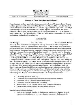city manager resume city manager candidate resume tom markus