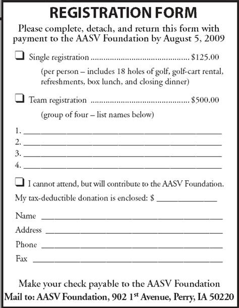 team registration form template aasv foundation fox ridge golf club to host aasv