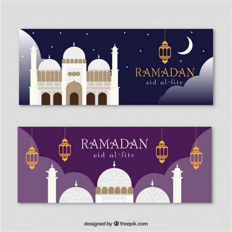 design banner ramadan flat banners with mosque for ramadan vector free download