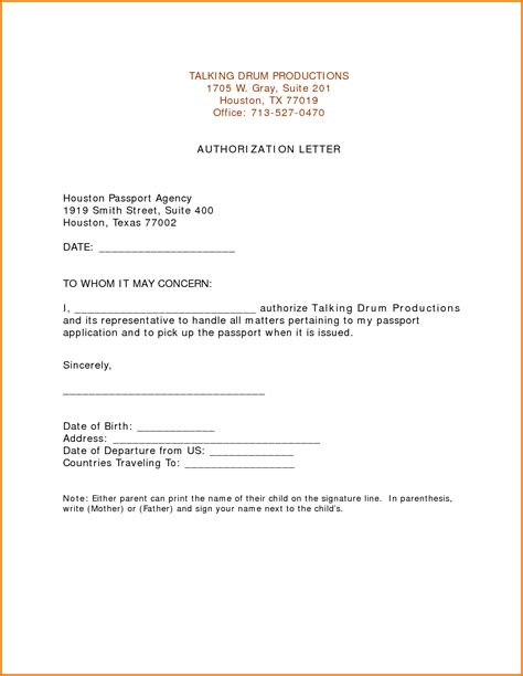sle authorization letter for minor to get passport authorization letter for passport authorization