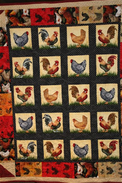 Rooster Quilts by Fannie S Green Acres Rooster Quilt Blue Monday