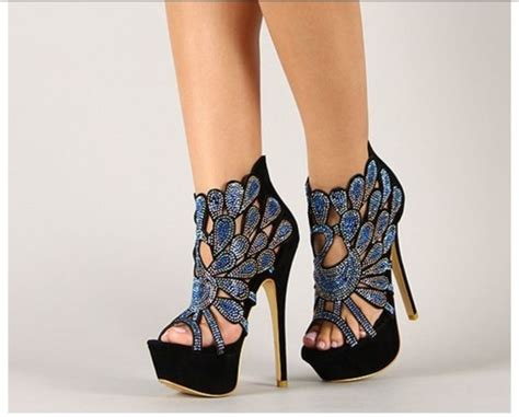 amazing high heel shoes shoes pattern prom shoes black blue high heels