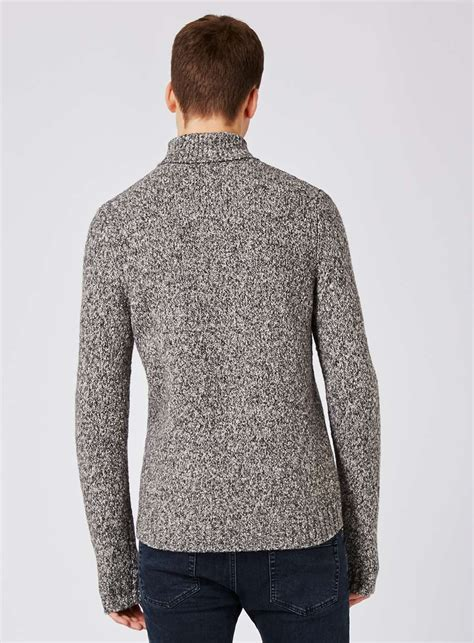 Turtle Neck Slim Fit Sweater grey neppy turtle neck slim fit sweater topman usa