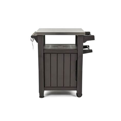 keter unity 40 gal grill serving prep station cart with