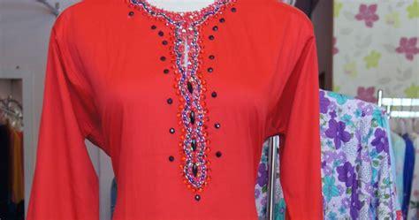 Setjt1171205273591 Baju Merah Peplum Celana Panjang Merah butik qaireen baju kurung lace cotton merah available