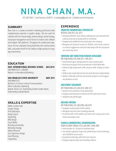 Resume Sles For Creative Professionals Chan Resume