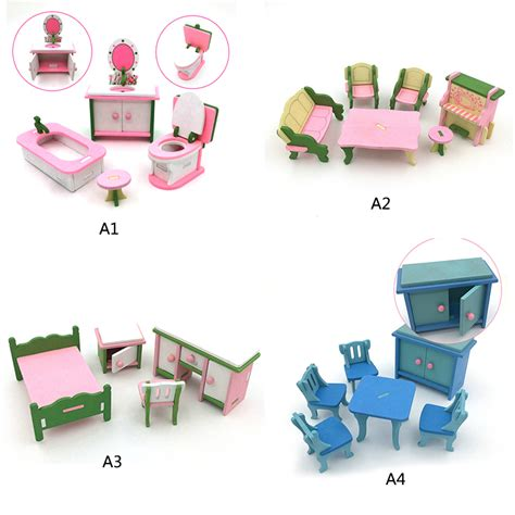 1 16 dolls house furniture 4pcs set kids 1 16 miniature wooden imitate doll houses furniture household toys