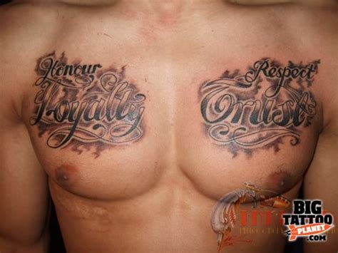 loyalty and respect tattoos honour loyalty respect trust on chest tattooshunt
