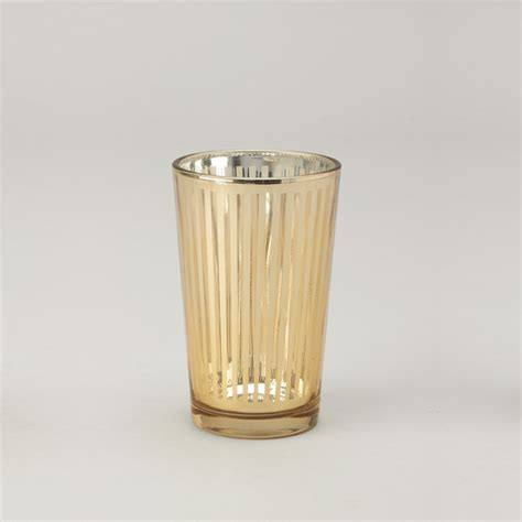 Votive Candle Tray Striped Glass Votive Candle Holder 6 Count Gold
