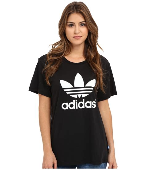 for womens latest the colbert report logo tee black adidas originals boyfriend trefoil tee at zappos com