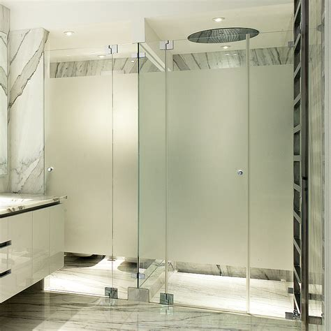 6 Sandblasted Modesty Sections Frameless Showers Ssi Sandblasted Glass Shower Doors