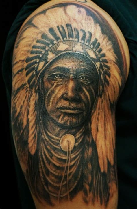 inborn tattoo american indian headdress portrait by