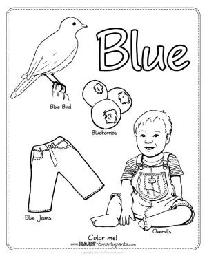 coloring page of blue pictures color blue worksheet jplew