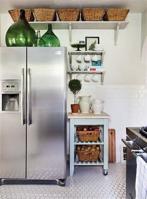 above refrigerator storage small kitchen storage put baskets above the cabinets