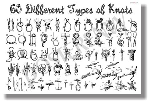 Different Hemp Knots - 60 different types of knots new survival nautical poster