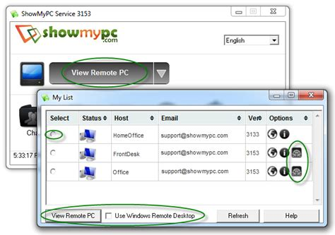 windows remote desktop with showmypc