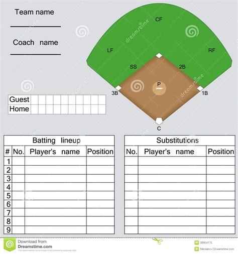 free softball lineup template batting order template