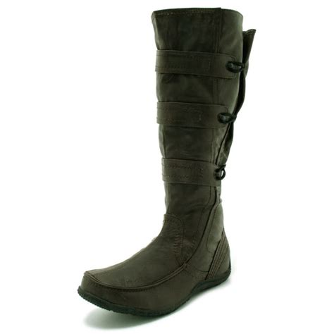 womens brown wide calf toggle knee high flat boots from