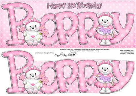 large dl 1st birthday poppy teddy card n 3d