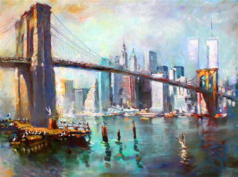 acrylic painting nyc ny city bridge ii painting by ylli haruni