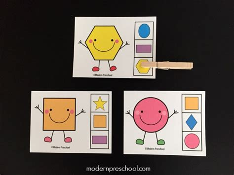 cards for preschoolers shape match clip cards