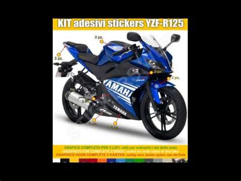 Stickers Yamaha Yzf R125 by Adesivi Stickers Moto Yamaha Yzf R125 Decal Decalcomania
