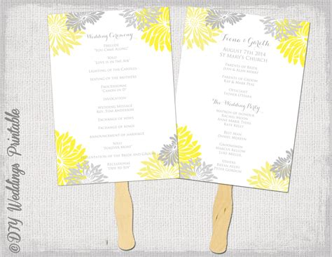 wedding fan program template flower burst yellow